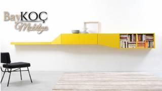 Modern Duvar Ünitesi Özel Ölçü Üretim Parlak Sarı